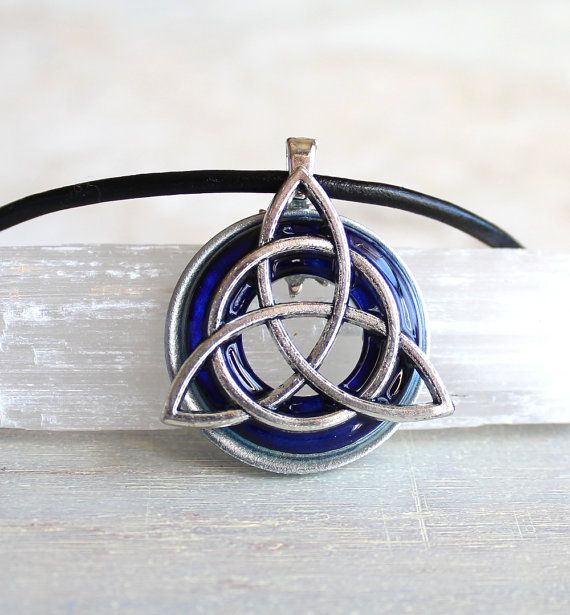 royal blue triquetra necklace celtic jewelry mens necklace