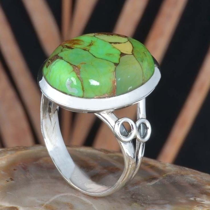 925 SOLID STERLING SILVER GREEN COPPER TURQUOISE FANCY RING 6.02g R11427 SZ-10 #Handmade #Ring