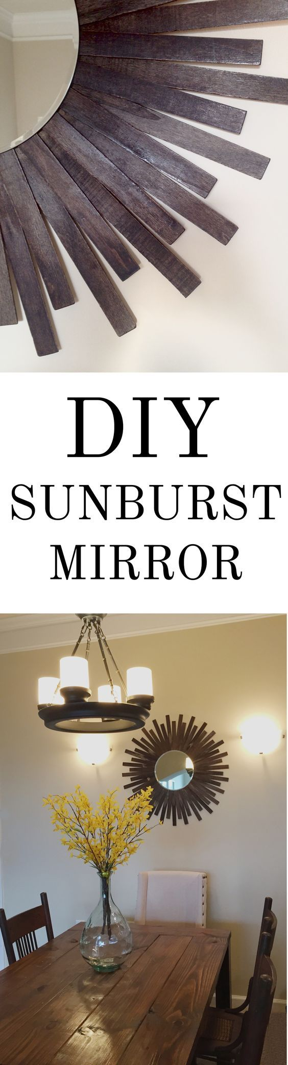 An easy + affordable #DIY sunburst mirror- made out of PAINT STIRRERS!