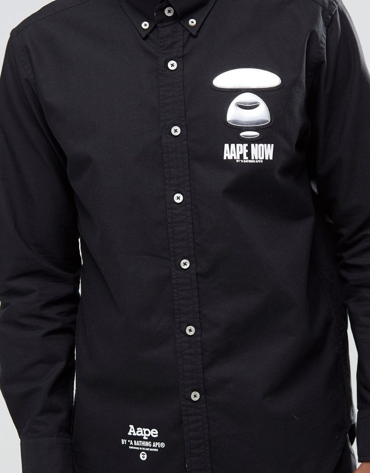 Image 3 of AAPE By A Bathing Ape Long Sleeve Shirt with Metal Badge in Slim…