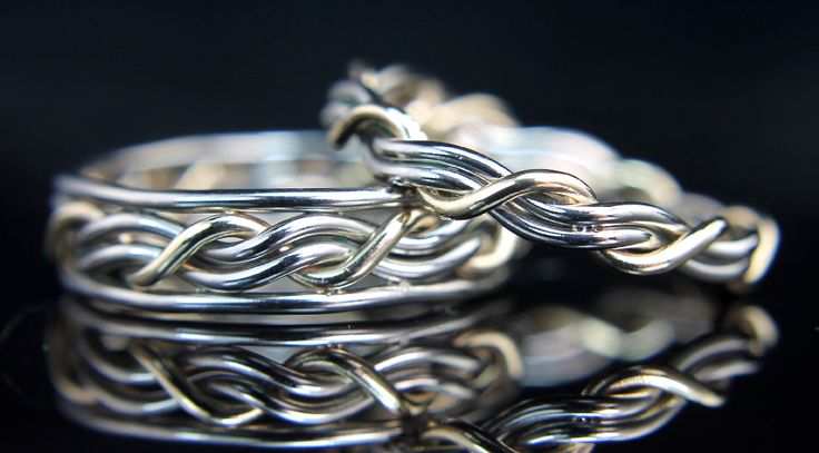 """The symbolism in these rings comes from the Bible in Ecclesiastes 4:9-12 """"Though one may be overpowered, two can defend themselves. A cord of three strands is not quickly broken.""""......... one strand """"God strand"""" wraps around two strands """" the couple"""" holding them together."""