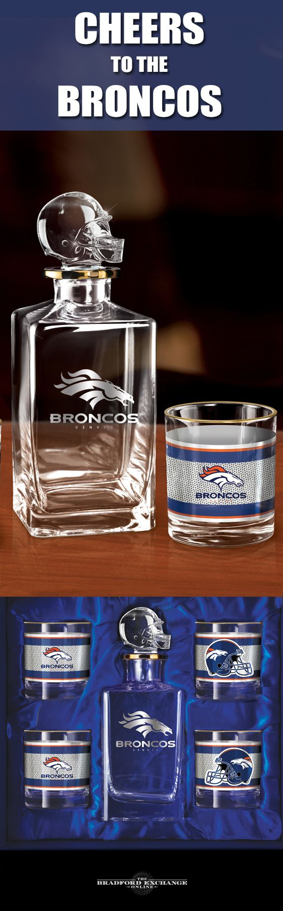Raise a toast to your Denver Broncos with a handsome 5-piece decanter set. This officially-licensed NFL barware set includes a crystal-clear decanter with a team helmet stopper, 4 team icon glasses rimmed in gleaming 12K gold and a satin-lined gift box