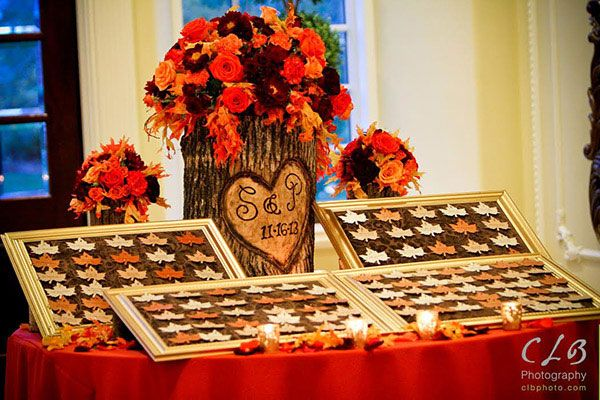 This breathtaking rustic escort card display is the perfect fit for a fall wedding.