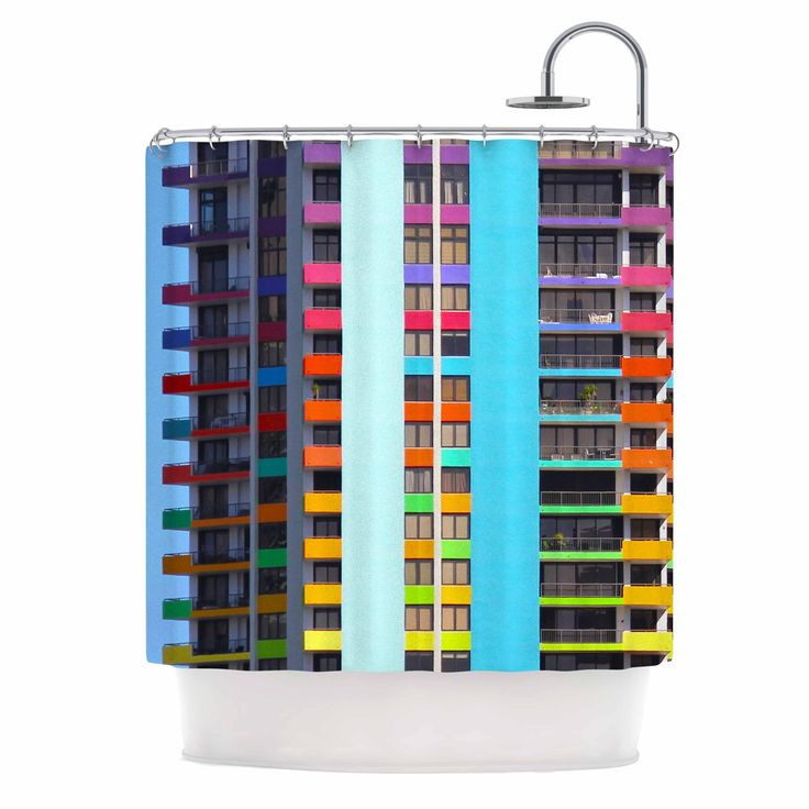 """Kess InHouse Philip Brown """"The Rainbow Building"""" color Modern Shower Curtain"""