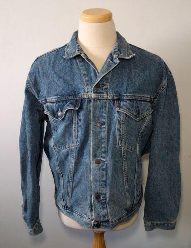Vintage Levi's Jean Jacket US L Denim Coat Button Front Cowboy Western