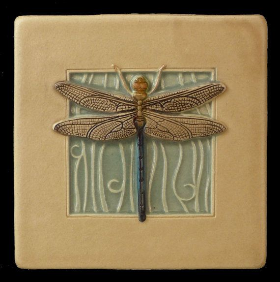 Ceramic tile, Dragonfly, wall decor, 4 x 4 inches, deco tile via Etsy by MedicineBlu