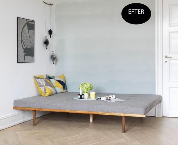 Cool gæsteværelse med dip-dye-væg (Bolig Magasinet)