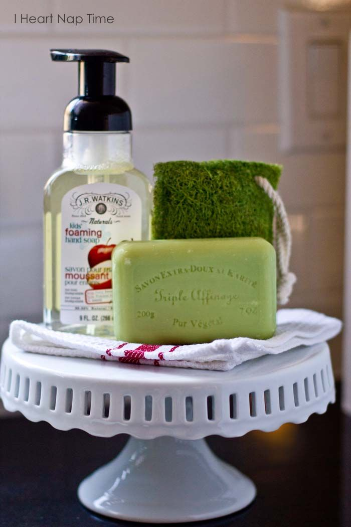 Display your soaps on a cute cake stand for a fun piece of decor in the kitchen. From iheartnaptime.net