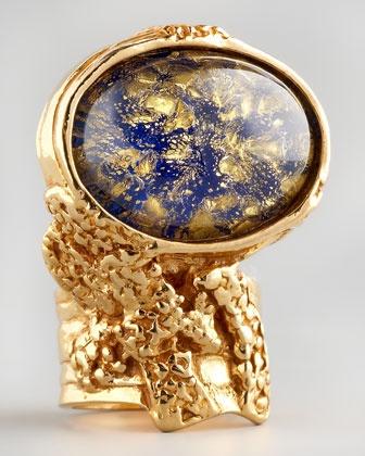 Navy Glass Arty Ring, Golden by Yves Saint Laurent.