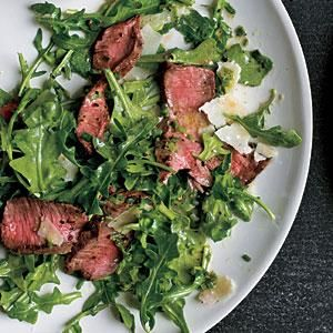 Grilled Steak with Baby Arugula and Parmesan Salad Recipe | MyRecipes.com