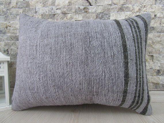 Color gris Overdyed almohada almohadilla decorativa 16 x 24 Kilim almohada almohada étnicos Azteca almohada Kilim collarín almohada bohemio acento almohada