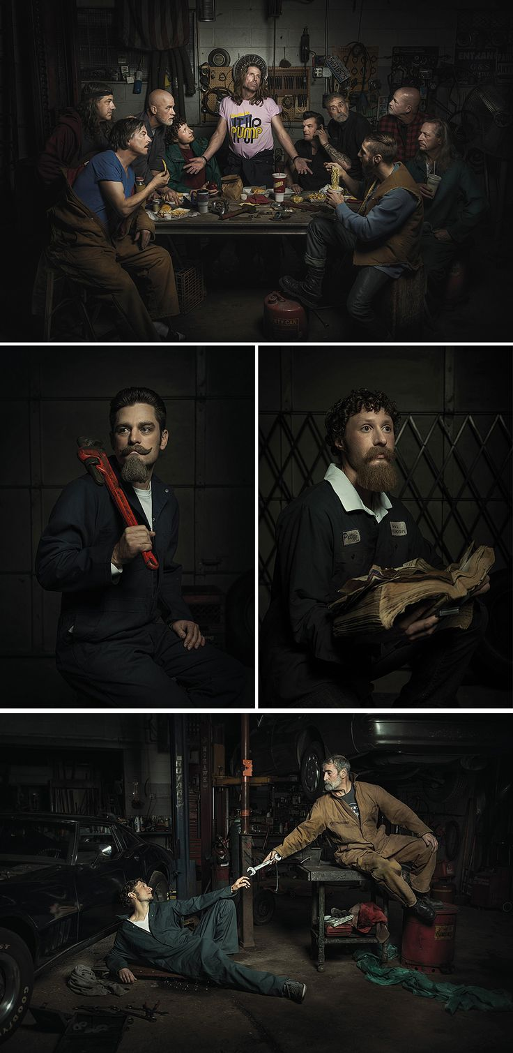 Portraits of Auto Mechanics in the Style of Renaissance Paintings by Freddy Fabris