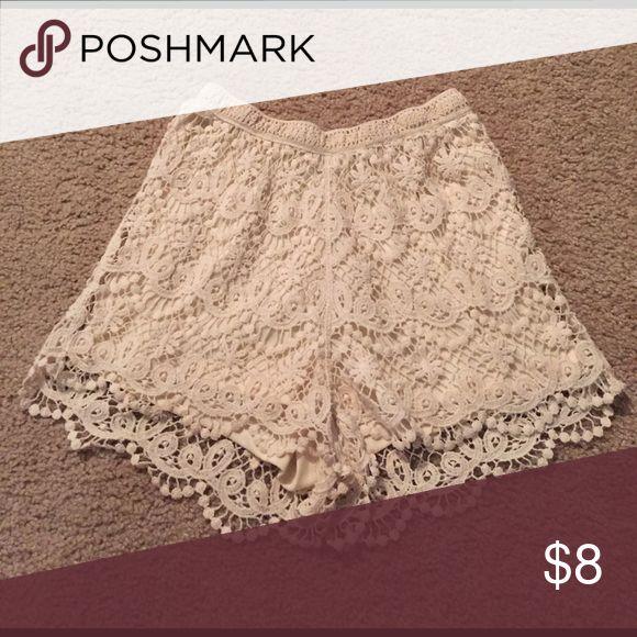 Crochet Cream Shorts Crocheted cream shorts. Worn once! Shorts