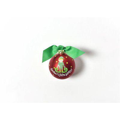 Coton Colors Santa's Little Helper Boy Glass Ball Ornament
