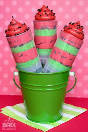 Watermelon cake push pops
