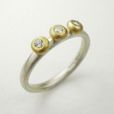 Silver and 18ct yellow gold pebble ring with diamonds by Natalie Jane Harris