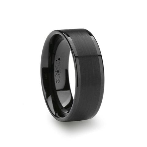 Flat black Tungsten wedding band with brushed center