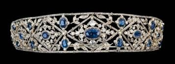 Sapphire and diamond bandeau tiara by Mellerio circa 1870. Of kokoshnik design, composed of seven graduated rose-cut diamond-set lozenge clusters, each with a central oval sapphire within rose-cut diamond border with diamonds, mounted in silver and yellow gold, the central cluster detachable to form a brooch.