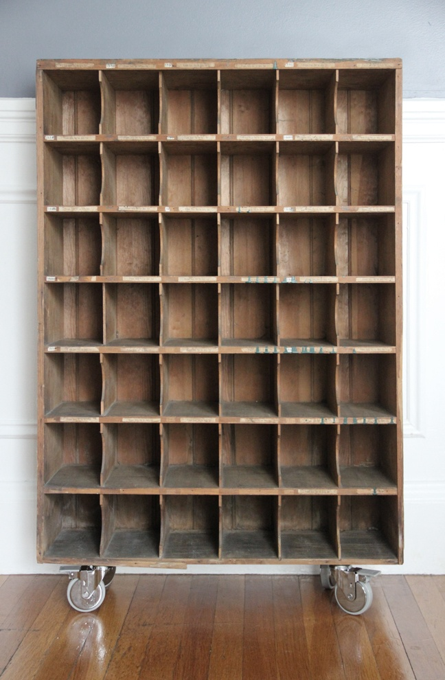 Old Mail Sorter, just add casters - would love to find one of these!!!