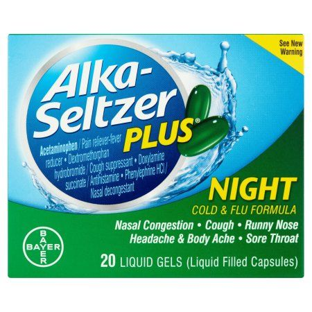 Alka-Seltzer Plus Night Cold & Flu Formula Liquid Gels, 20 count