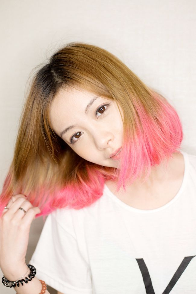 hightlight partial Pink hair dyed