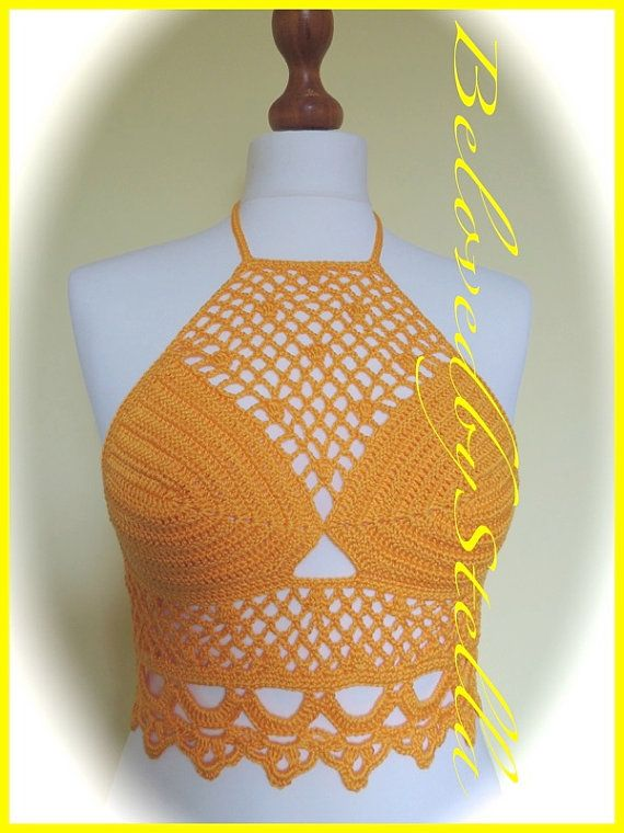 Crochet Top 'Leila'. Handmade in 100% cotton. by BelovedbyStella