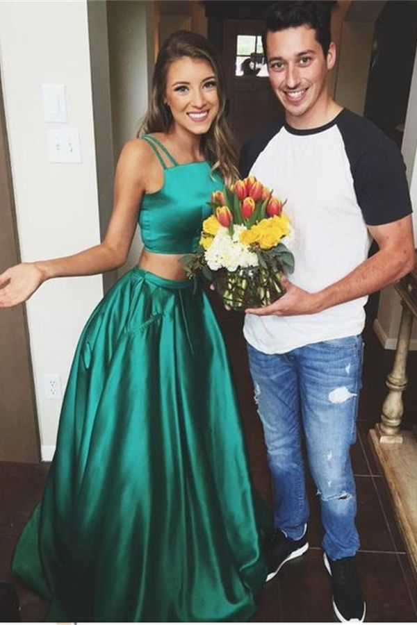 Green Prom Dresses, Two Piece Prom Dresses, Plus Size Two Pieces Green Satin Long A-line Cheap Simple Modest Prom Dresses For Teens