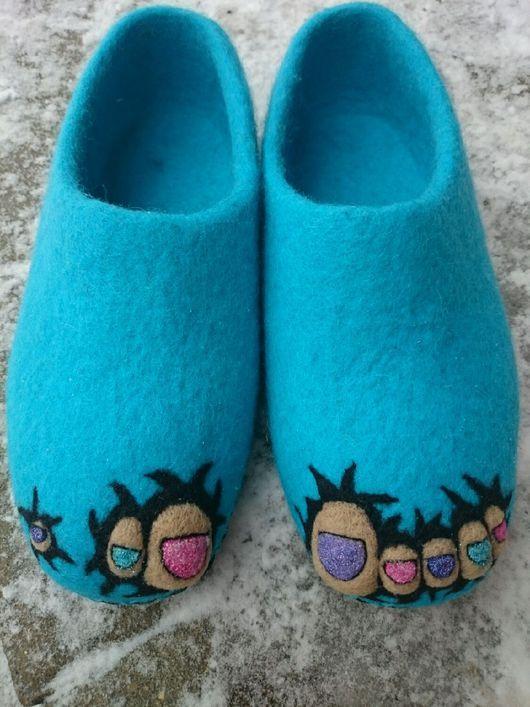 Обувь ручной работы. домашние валяные тапочки из натуральной шерсти Ши-лак. Кэт…