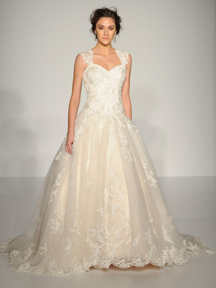 Maggie Sottero lace overlay ball gown wedding dress with lace cap sleeves: