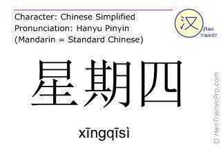 xingqisi en caractères simplifiés ( 星期四 ) avec prononciation en chinois mandarin