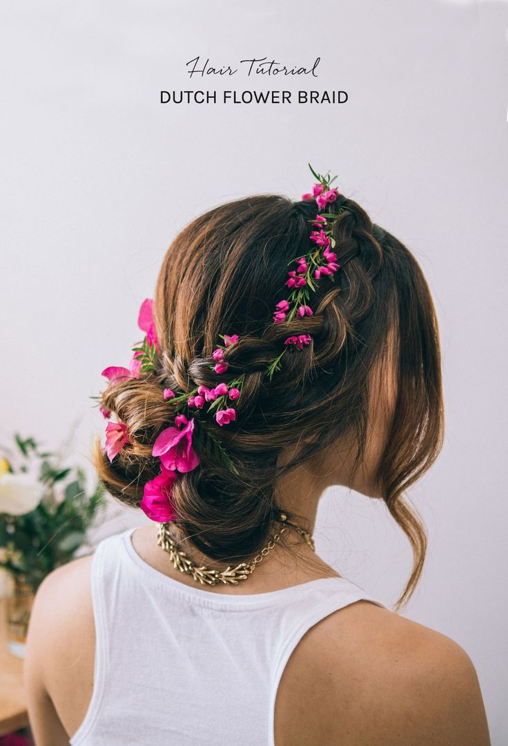 DIY Floral Dutch Braid