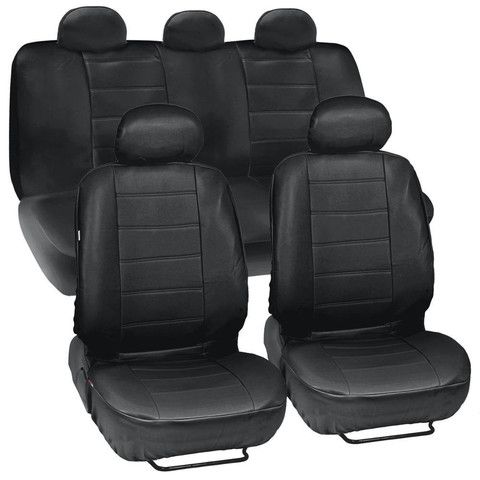 Black Synthetic Leather Car Seat Covers Complete Set - Premium Leatherette