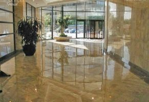 Commercial Lobby - Polished Marble Floor  Scope of work: sand, polish and protect floor with a penetrating sealer.