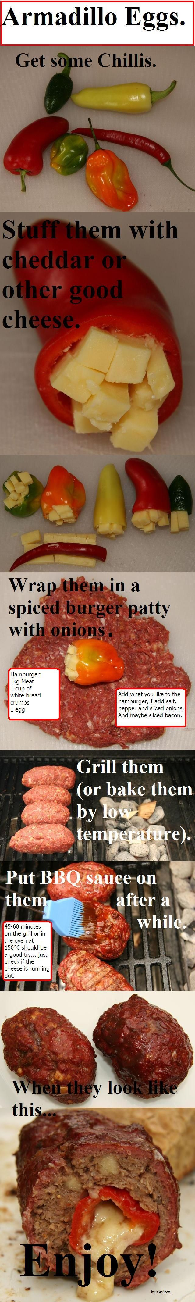 Burger Patty stuffed with a pepper filled with cheese... pics only but the recipe is on the step by step photos
