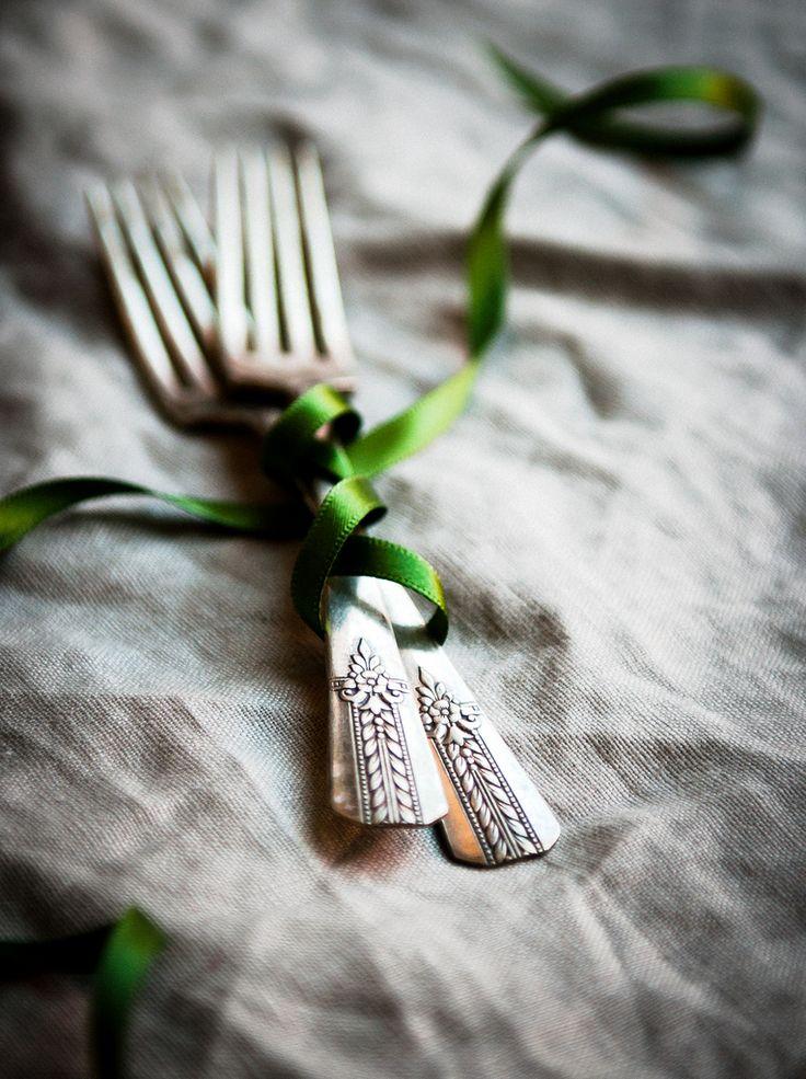 forks + green ribbon   flatware + cutlery