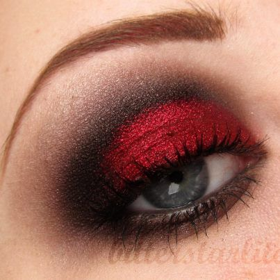 Sex on Fire  Makeup Geek eyeshadow:  Dark brown= Bada Bing  Red= Burlesque  Med brown= Cocoa Bear  Black= Corrupt