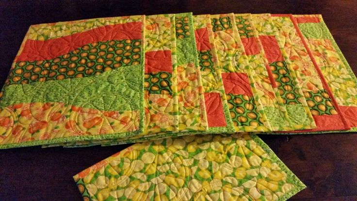 Summer Citrus Placemats Quilted with Citrus Slices Quilting design