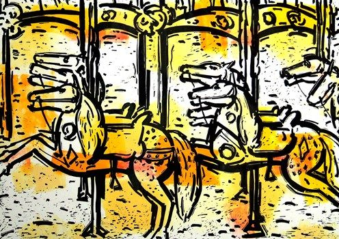 Yellow Merry Go Round - Craqig Gough  Aluminium etching and hand coloured   2010  SOLD  Available at www.cascadeprintroom.com.au