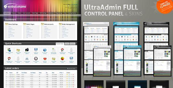 UltraAdmin Full Control Panel 4 Skins - Admin Templates Site Templates - $20