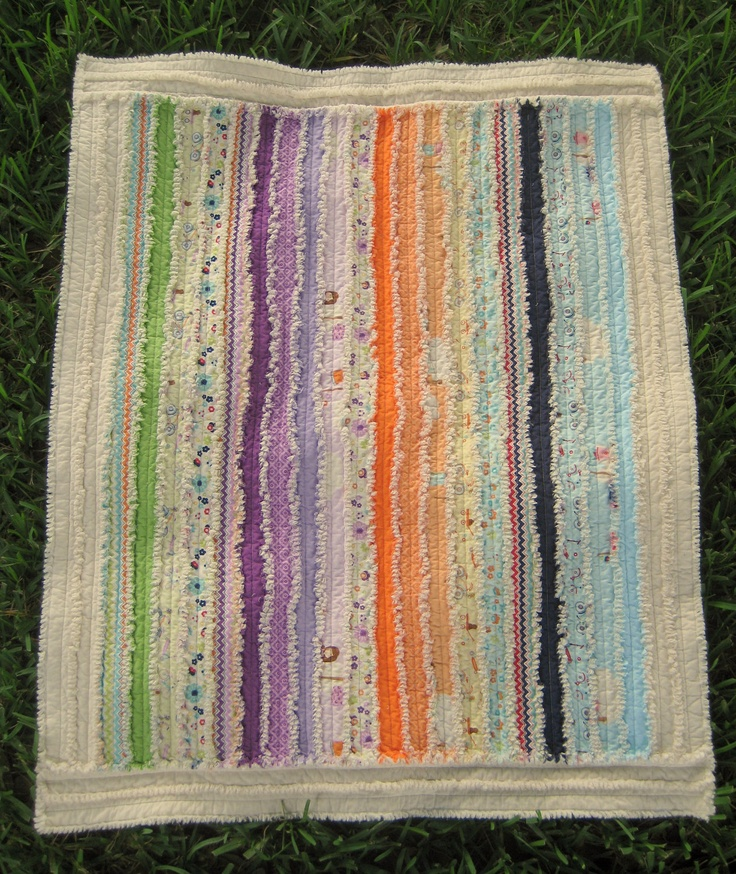 This isn't my quilt but love the colors and strips.  Soft & Cuddly Cotton Baby Rag Quilt. $139.00, via Etsy.