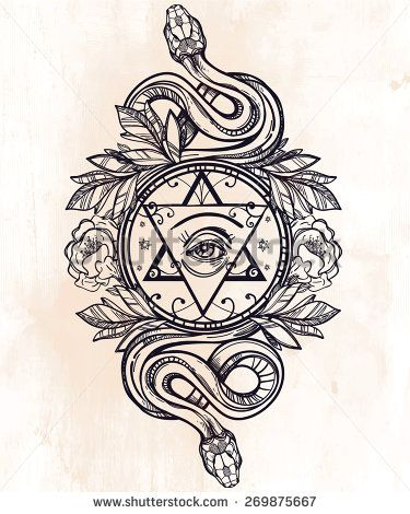 Vintage hand drawn masonic symbol: all seeing eye, the star, laurel wreath and serpents snakes. Grunge background. Vector illustration isolated. Magic alchemy objects linear style. Tattoo template. - stock vector