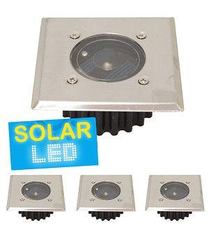 """4er-Set LED Solar Bodenstrahler """"eckig"""",4er-Set"""