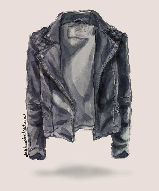 All Saints Spitalfields Cargo Leather biker jacket watercolor fashion illustration sketch