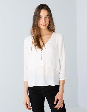 Bershka Czech Republic - Bershka double layer blouse with zipper