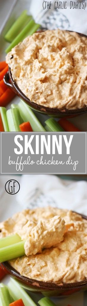 Skinny Buffalo Chicken Dip - A lightened up version of the classic game day food. Much healthier, but just as delicious! Gluten Free -- TheGarlicDiaries.com
