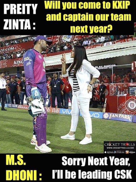 Leaked conversation b/w Preity Zinta & MS Dhoni (Just for fun) :) For more cricket fun click: http://ift.tt/2gY9BIZ - http://ift.tt/1ZZ3e4d