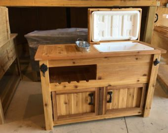 Rustic Wooden Cooler Table Bar Cart Wine Bar With Mini