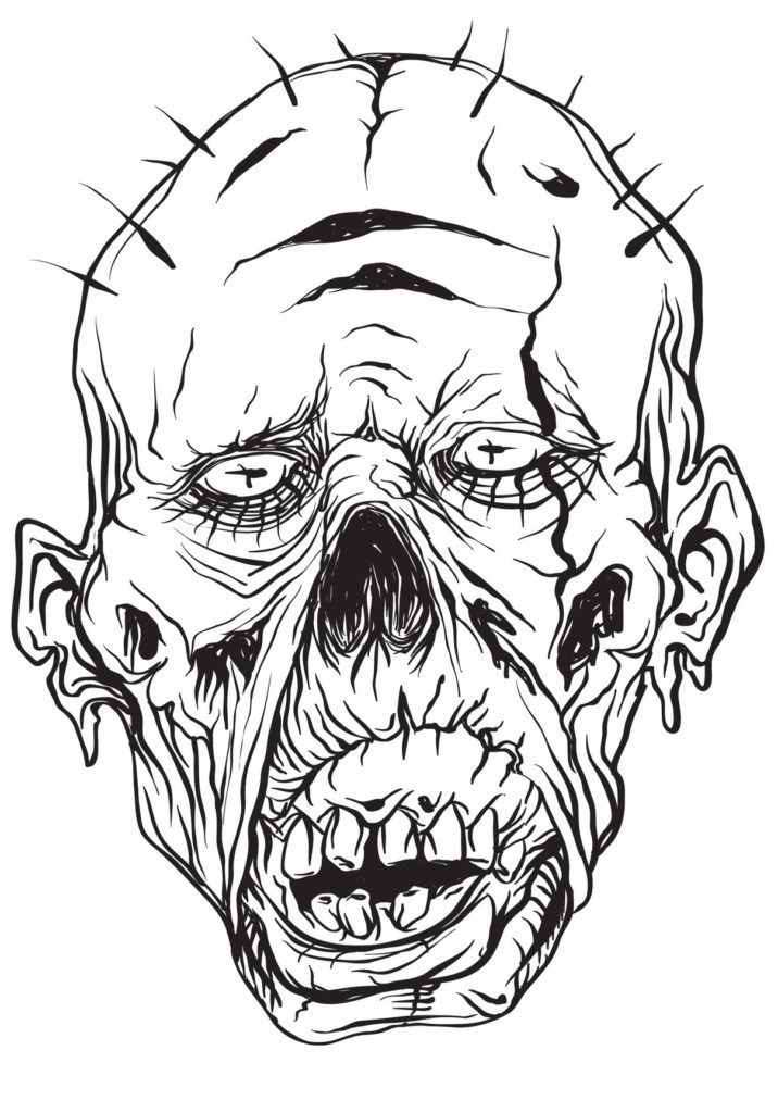 Gothic Horror Scary Coloring Book For Men Coloring Books Halloween Coloring Book Zombie Face