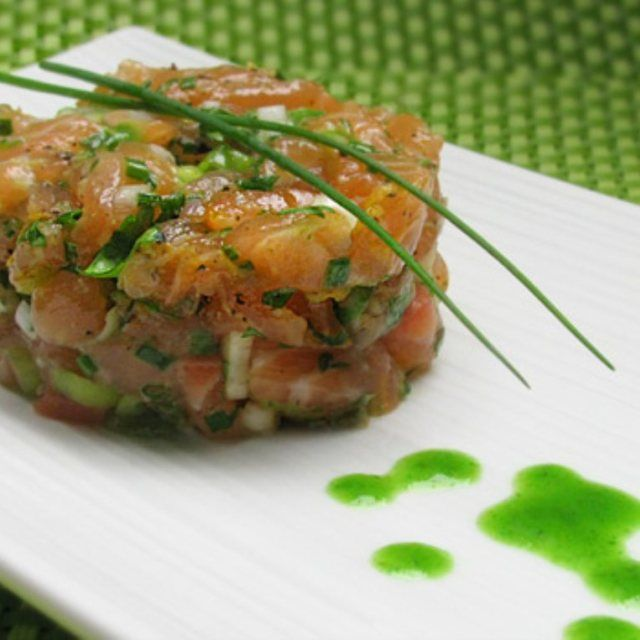 Asian inspired salmon tartare with green chilies and ginger.
