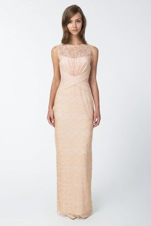 Chantilly Lace Boatneck Gown in Desert Bloom - Shop | Tadashi Shoji